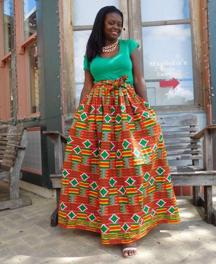 vetement femme wax robe en pagne ivoirien aux couleurs de la cote d'ivoire orange et vert