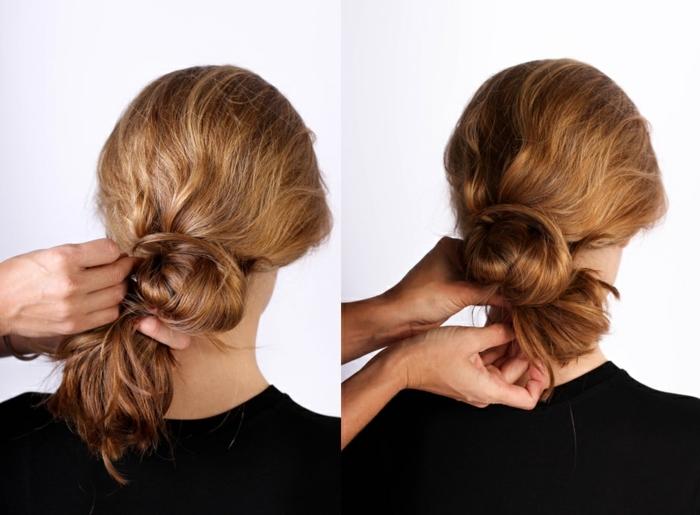 chignon facile à faire avec quelques gestes sur des cheveux longs