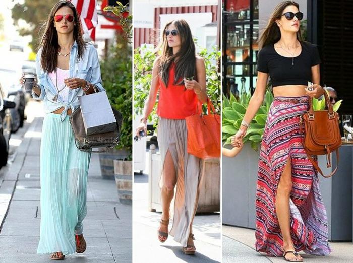 comment s'habiller en été, jupes fluides et top casues, jupe longue fendue