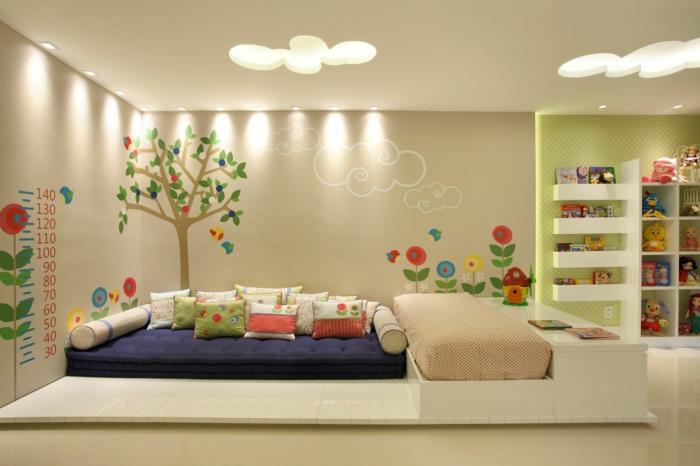 chambre montessori avec lit montessori, cabane lit sur grande plate-forme blanche, plafond réséda, ouvertures en forme de grands nuages avec des plafonniers qui illuminennt