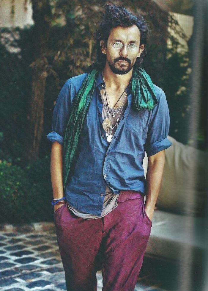 vetements homme casual décontracté pour été boheme avec chemise et pantalon lin coton violet