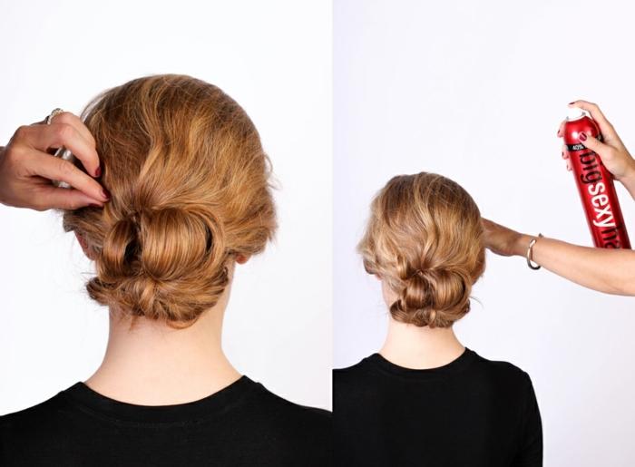 comment faire un chignon décoiffé sur cheveux longs, modele chignon de deux ponytails