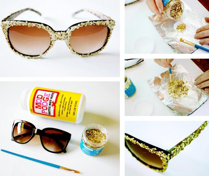idée activité manuelle facile pour personnaliser ses accessoires, modèle de lunettes de soleil avec déco en paillettes dorées