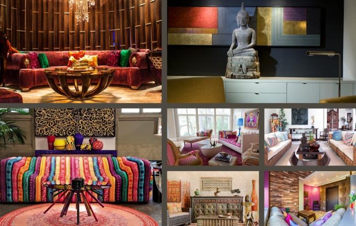 idée intérieur moderne aux motifs ethniques dans un salon foncé, pièce aux murs noirs avec armoire blanche et statue bouddha