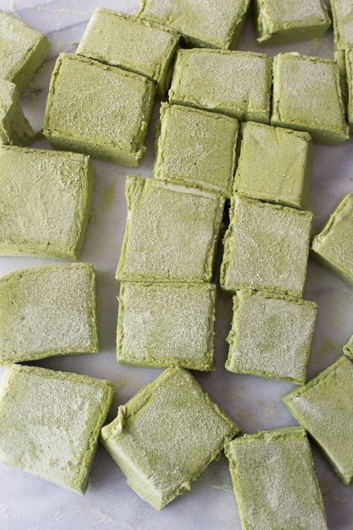 recette de chamallow originale au thé vert matcha, recettes de dessert au thé matcha