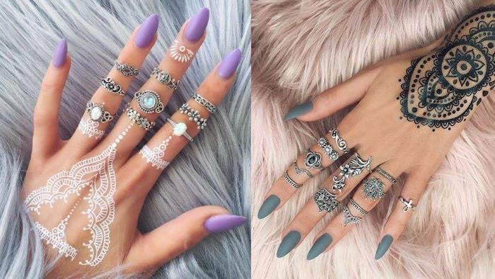Ongle deco, modele d ongle en gel, french manucure, deco ongle ete, couleur mat, main avec henné dessin
