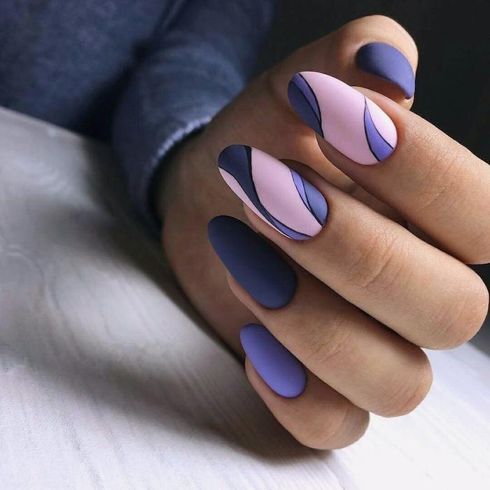 Idee ongle longue ovale, modele d ongle en gel, suivre les courbes, dessin ongle moderne pour l'été, deco ongle gel facile