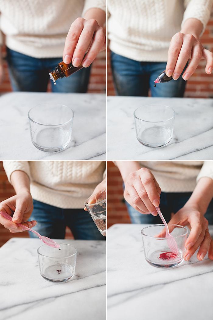 mélanger l huile de coco, l huile essentielle, le colorant alimentaire et l eau, cadeau pour sa soeur, fabriquer une bombe de bain maison