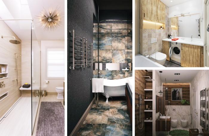 modèle de salle de bain 6m2 aménagée avec meuble de rangement vertical ou niches, exemple de salle de bain foncée au mur gris anthracite avec carrelage beige et gris
