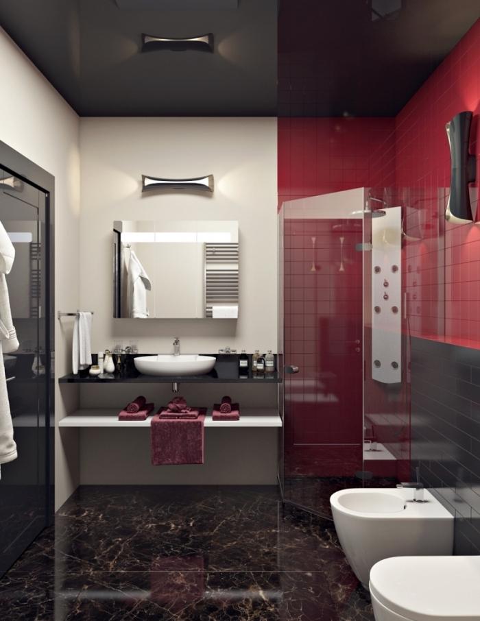 aménager une petite salle de bain à design contemporain avec plafond et plancher en noir et pan de mur en carrelage rouge