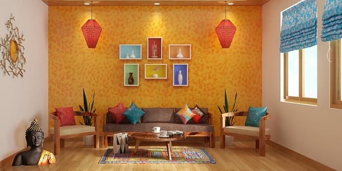 salon de style ethnique aux murs blanc et orange, idée meuble rangement mural avec petites étagères colorées