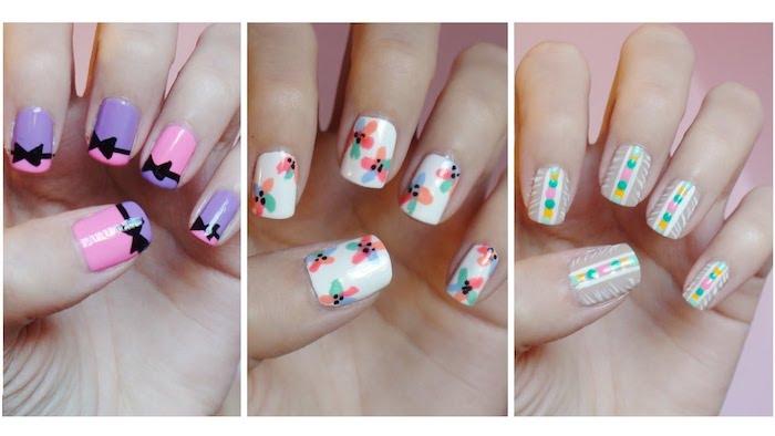 Ongle gel couleur trois idées en photo, dessin ongle art, design nail art manucure, inspiration ongle dessin