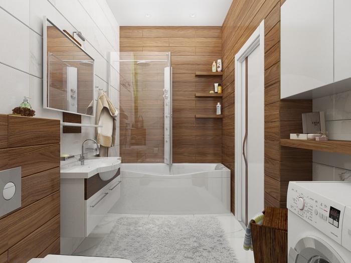 exemple salle de bain blanche et bois aménagée avec rangement mural aux étagères d'angle et meubles sous vasque blanc et bois