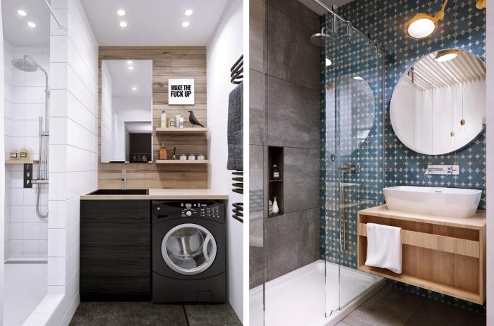 idée comment aménager une salle de bain en longueur, déco petit espace aux murs blancs avec rangement mural étagères en bois