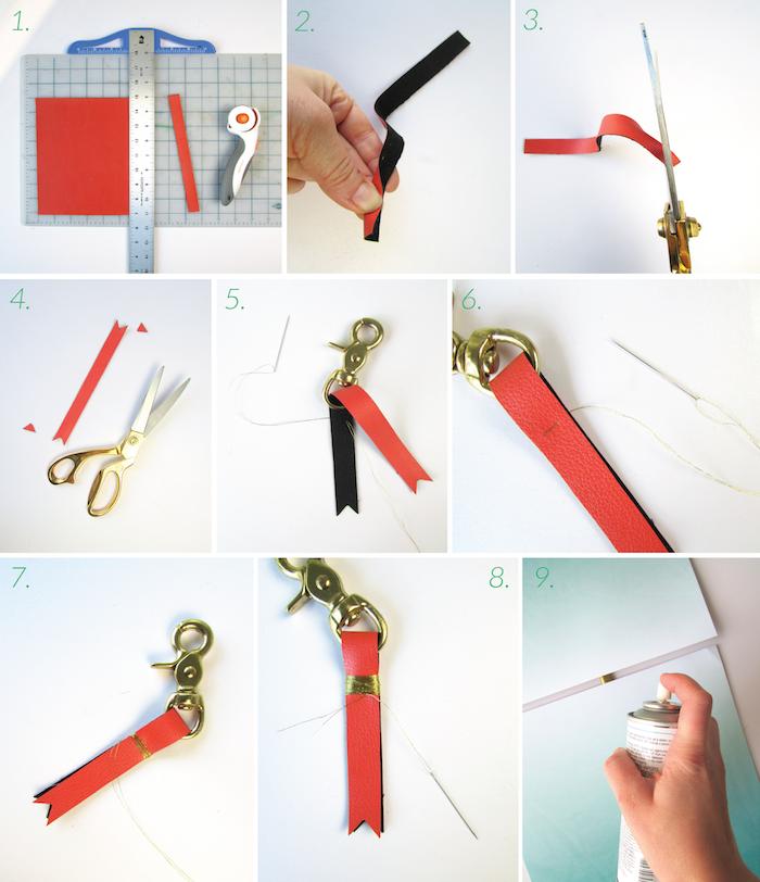 idée comment faire un porte clé personnalisé de bande de cuir colorée, enveloppée de fil doré, idée cadeau femme 25 ans