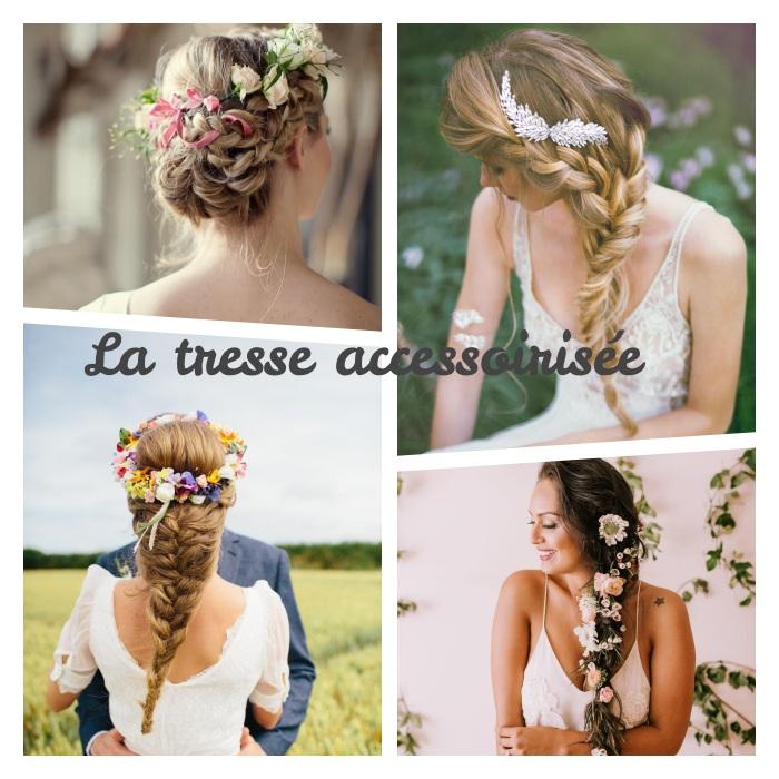 comment faire une tresse accessoirisé de petit bijou, couronne de fleurs ou de petites fleurs mêlées dans les cheveux