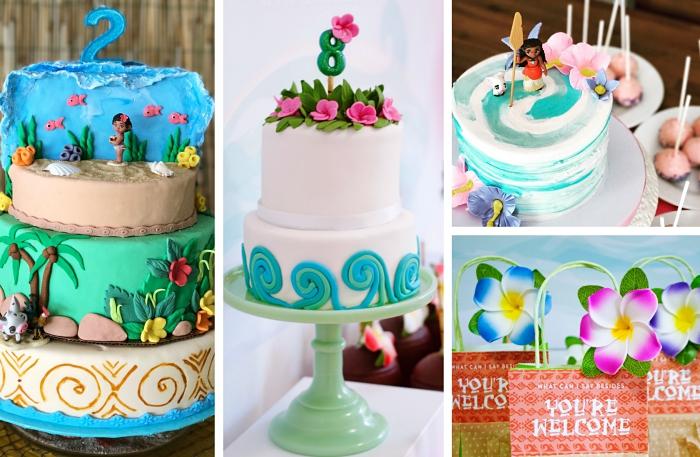 exemple deco anniversaire vaiana avec un gâteau sur le thème disney à deux ou trois étages avec déco en fondant et fleurs en sucre