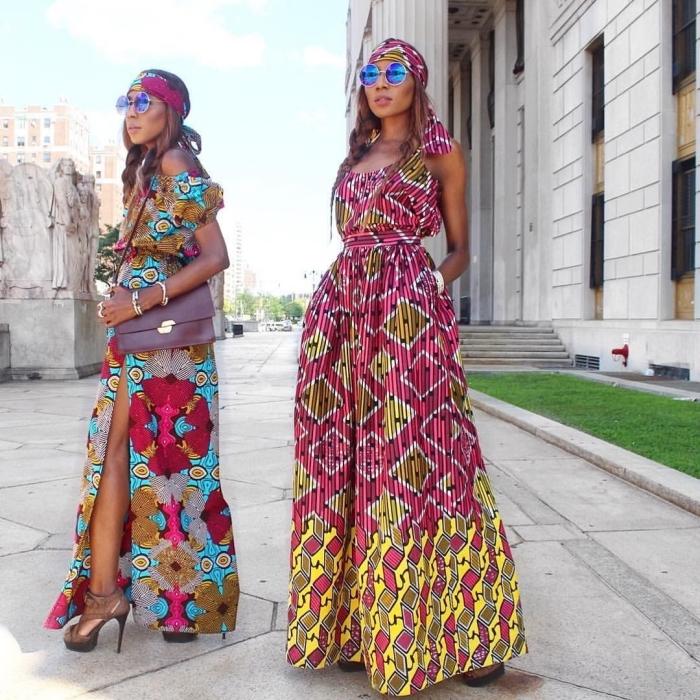 une robe maxi fluide en pagne africain de style bohème chic pour une allure romantique et féminine intemporelle