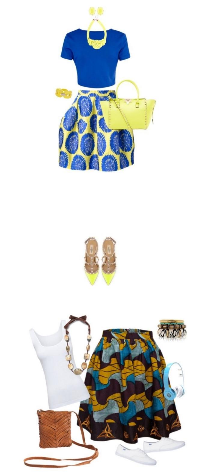 deux façons de porter la jupe en pagne wax, vision décontractée en jupe ethnique chic, top blanc et baskets, look élégant en jupe ethnique africaine et sandales plates à bout pointu, les tissus africains et leurs motifs tendances