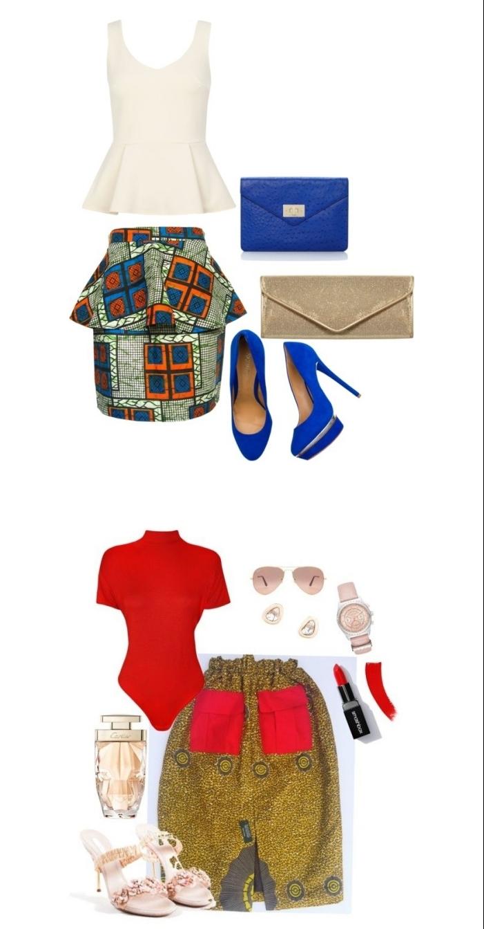 deux modèles de jupe en wax tissu africain mariés à des tops en couleur uni