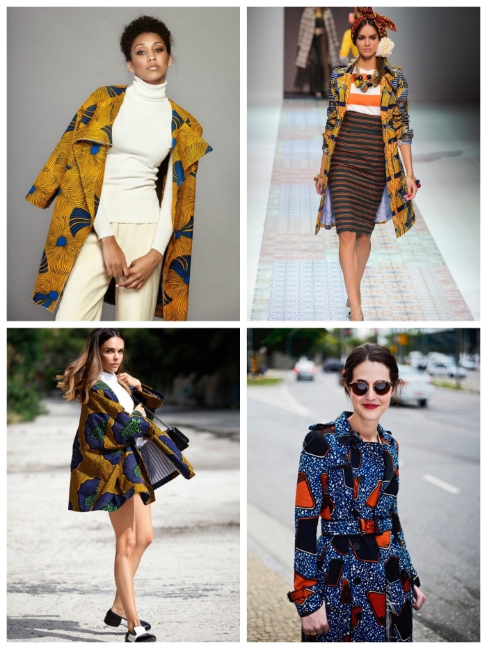 idées de looks stylés en veste tissu africain, comment porter le manteau en wax de façon moderne et stylé