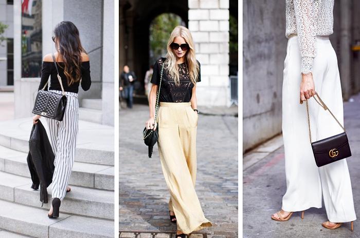 idée tenue chic et élégante avec pantalon large taille haute et blouse noire ou blanche, look chic en pantalon jaune pastel et blouse dentelle noire