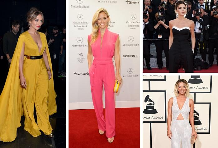 modèles de combinaison soirée cocktail en couleurs flashy, Jennifer Lopez en combi pantalon jaune à décolleté en V avec ceinture