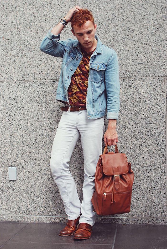 tenue homme retro style boheme vintage avec look denim chic