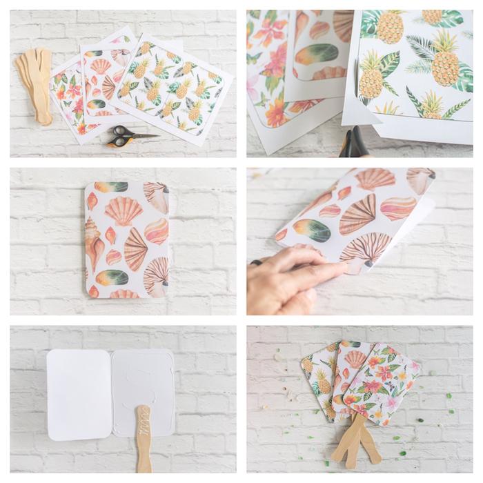 fabriquer un éventail en papier cartonné à motif exotique et manche en bois, eventail simple sans pliage