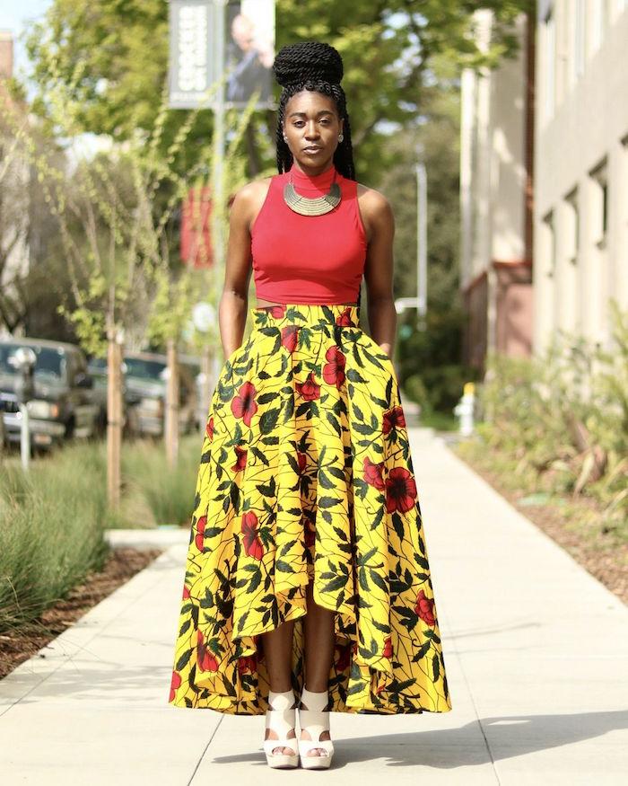 tenue de soirée été femme style jupe et vetement africain imprimé jaune et fleurs