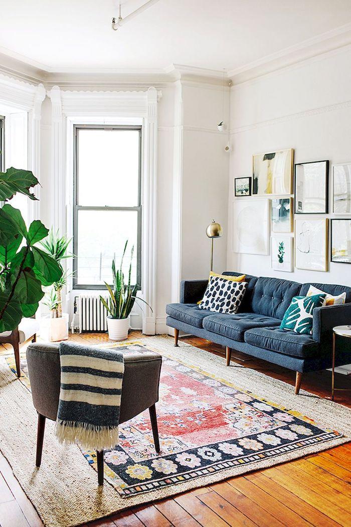 Deco cocooning déco salon cocooning séjour déco idée simple et chic moderne salon canapé bleu