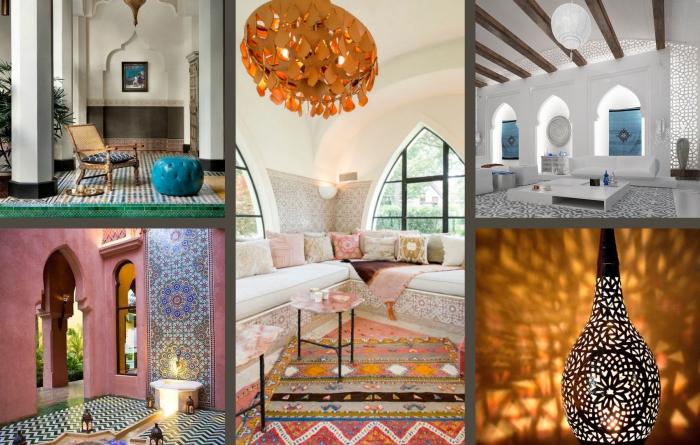 coussins en tissu ethnique de couleurs clairs et pastel dans un salon exotique aux murs blancs avec large canapé d'angle