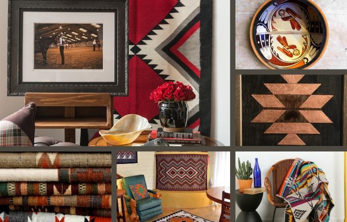aménagement de salon aux motifs navajo, exemple d'intérieur moderne et classique aux objets décoratifs tribal