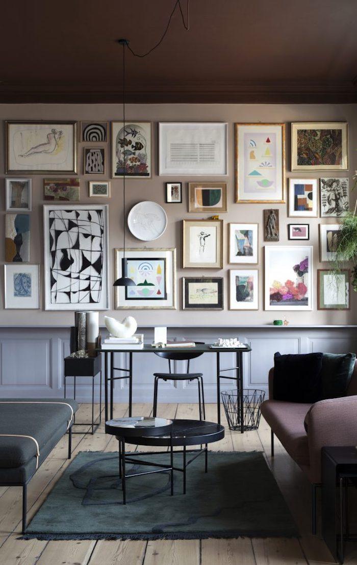 Décorer son salon déco salon cocooning espace design moderne intérieur peintures décoration murale tableau abstrait