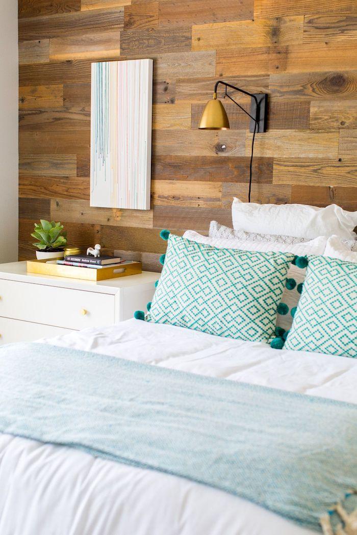 Deco chambre moderne, aménager chambre 9m2, la plus belle chambre confortable, lit avec couverture en blanc et bleu