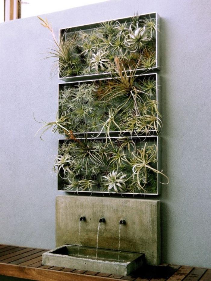 tableau vegetal original avec cascade en béton réalisé avec trois cadre végétaux de plantes sans racines