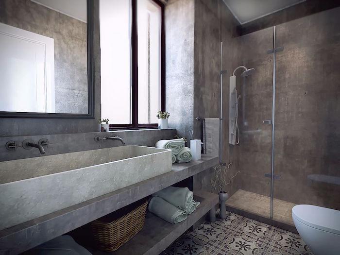 mur de douche italienne et meuble lavabo en beton ciré resinence avec vasque en ciment