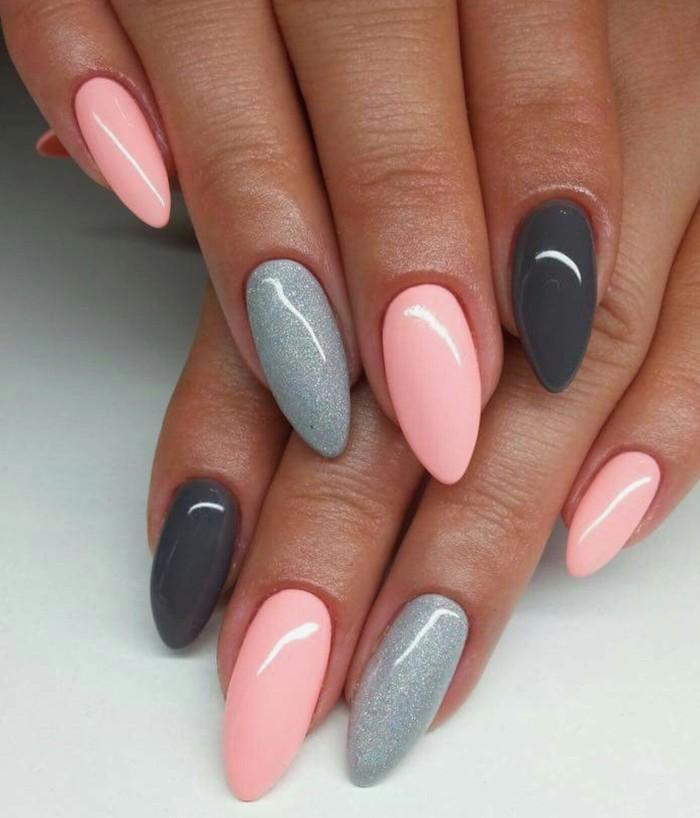 Deco ongle gel, modèle ongle en gel couleur été 2018 design moderne estival et féminine