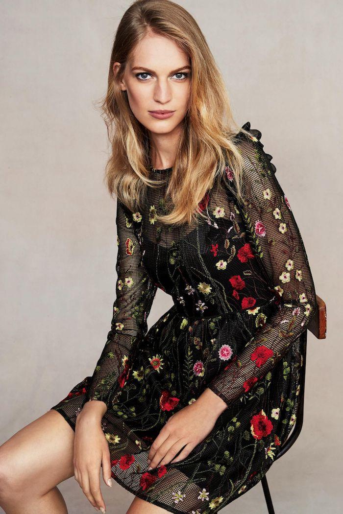 Tenue champetre pour mariage robe champêtre chic bohème tenue pour femme robe noire fleurie dentelle