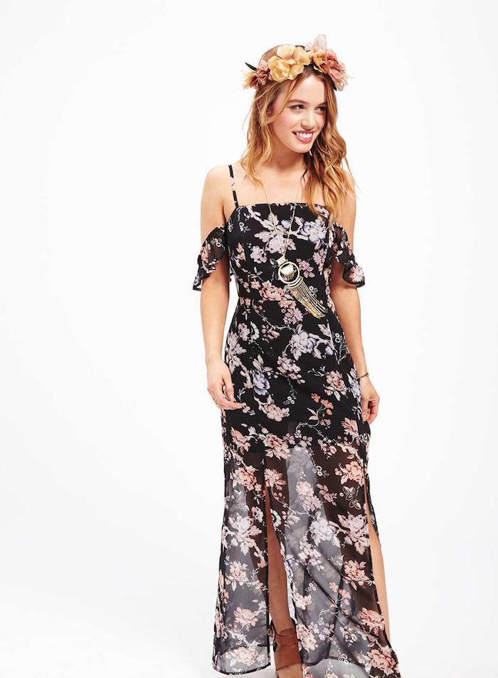 Cool tenue champetre femme robe champêtre chic style boheme chic tenue légère longue fendue d été robe épaules denudees