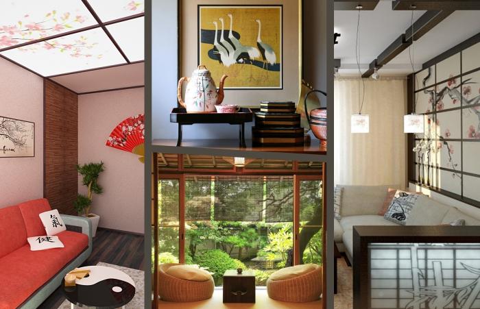 comment réussir le style ethnique dans une déco de salon, exemple salon japonais avec pan de mur bois et éventail traditionnel