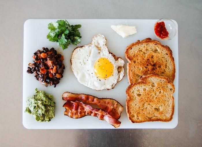 petit déjeuner angalis, recette hyperprotéiné, oeuf poché, toast, bacon, lardes, haricots noirs, guacamole, fromage blanc
