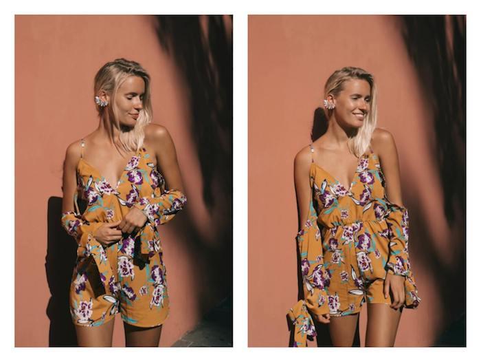 Adopter la tendance top d'été, le combishort fleuri, tenue combinaison chic femme, tenue legere pour l'ete, manche épaule dénudée
