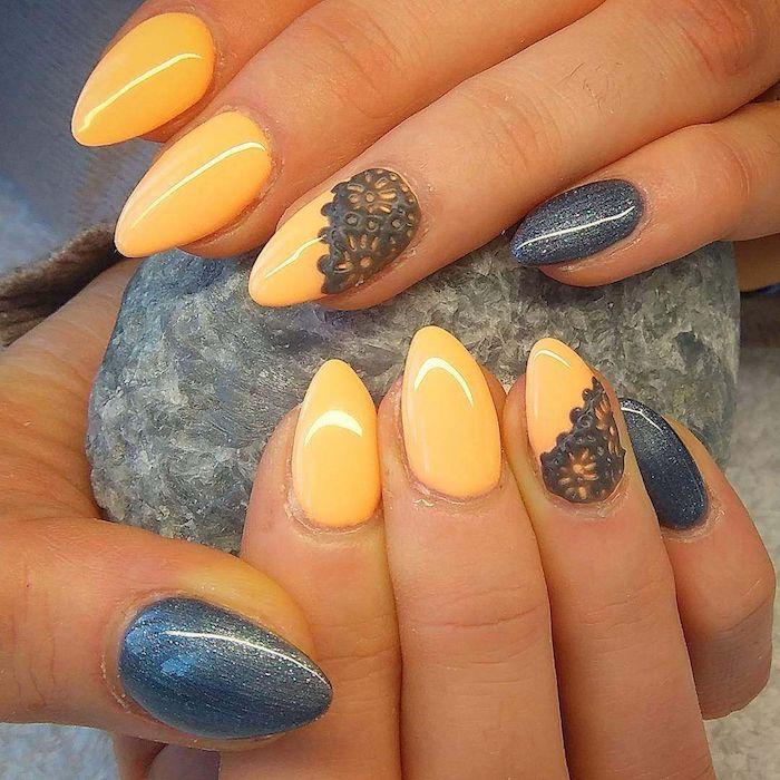 Beau modèle ongle en gel orange et gris, idée manucure gel pour ongle belle, femme beauté, belles mains