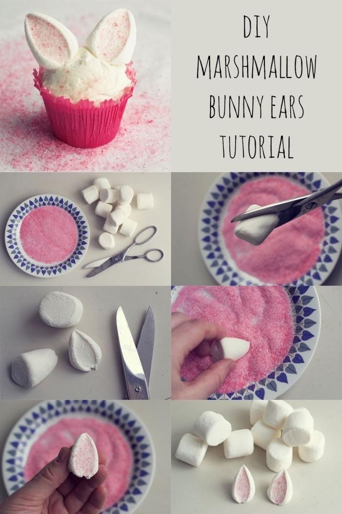 cupcakes oreilles de lapin réalisés à la guimauve, idée de décoration de cupcakes originale spéciale pâques