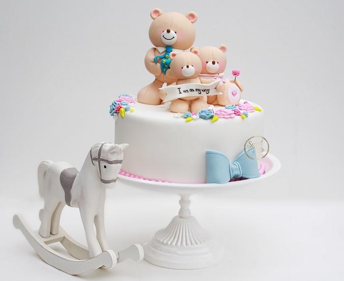 La famille des ourses, petit ourson en son chemin, gateau baby shower garcon bébé adorable