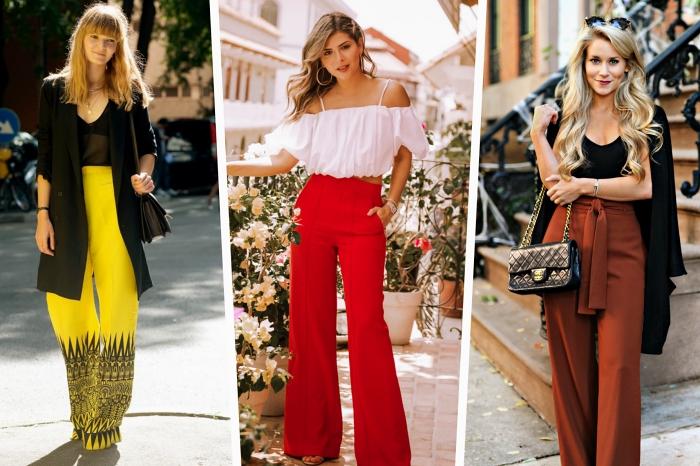 tailleur pantalon femme pour look élégant, modèle de pantalon jaune à taille haute avec top noir et blazer large