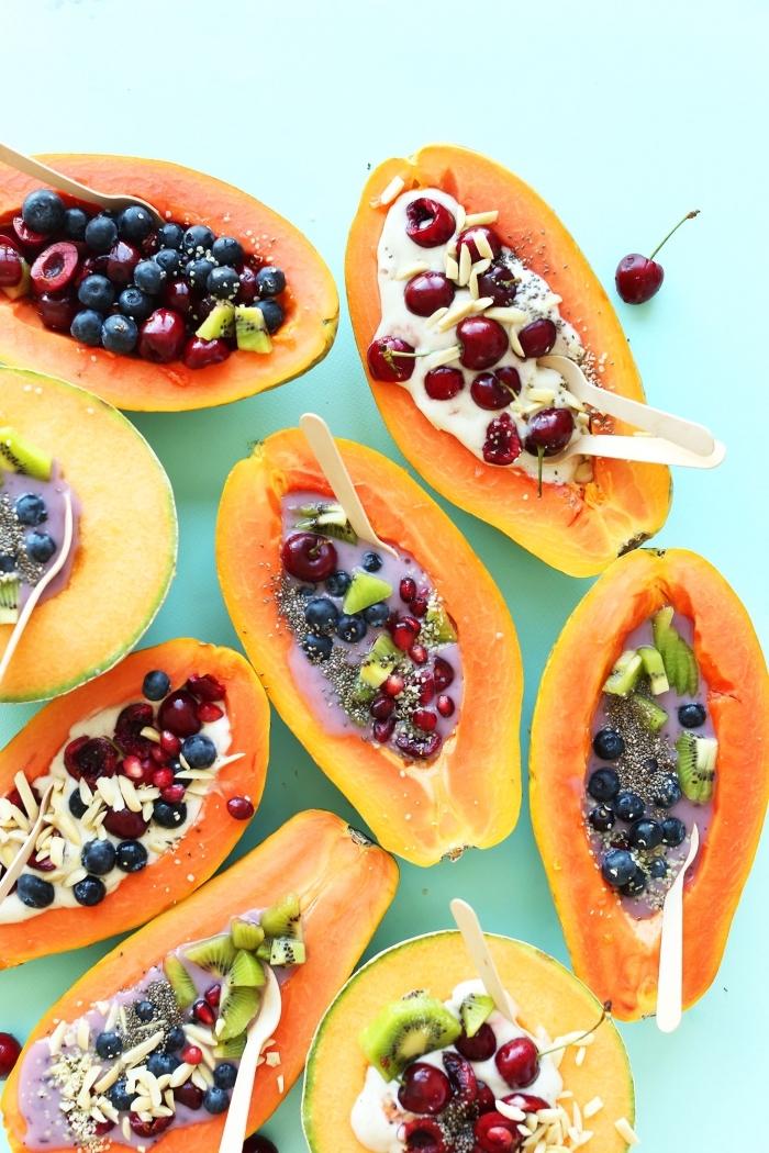 idée pour un petit-déjeuner healthy de bols de papaye à la salade de fruits frais, graines et yaourt