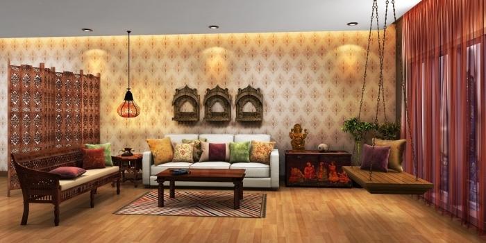 idée comment décorer un salon traditionnel avec meubles de bois foncé et plafond suspendu, modèle de balançoire ethnique