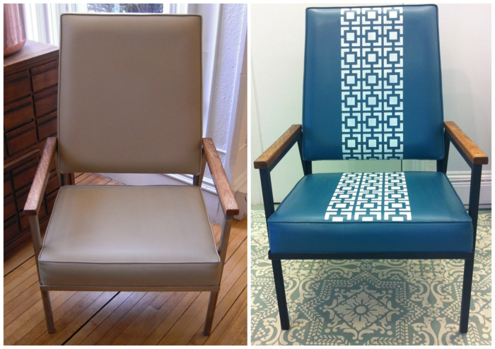 un fauteuil relooké image avant et image après, moderniser meuble ancien, peinture sur vinyle, relooking meuble avant après, accoudoirs en métal noir recouvert de bois clair